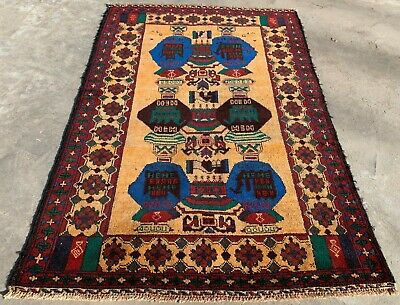 Authentic Hand Knotted Afghan Balouch Wool Area Rug 4.5 x 2.10 Ft (155 HM)