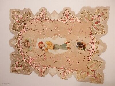 Vintage Victorian Paper Lace Folded Valentines Card - Boy Tipping Hat