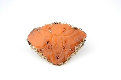 Large Antique Chinese Qing Dynasty Carved Butterscotch Amber Butterfly Brooch