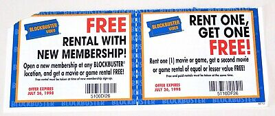 Vintage 1998 BLOCKBUSTER VIDEO New Membership Offer ~ Rent One, Get One Coupon