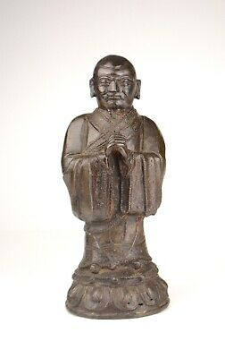 Antique Chinese Ming Dynasty Bronze Figure Of A Standing Monk