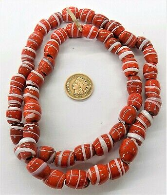 Early 1600's Style Dutch Red / White Striped Trade Beads   B4  W6 African