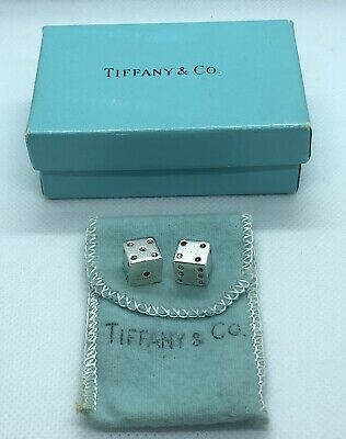 VERY RARE! Vintage Tiffany & Co. Sterling Silver .925 Gambling Game Dice Pair