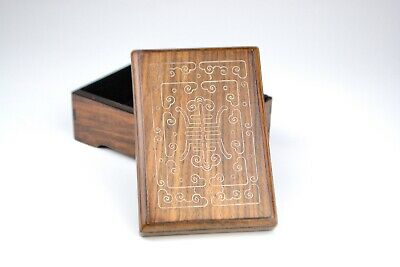 Antique Chinese Silver Inlaid Longevity Wood Box And Cover