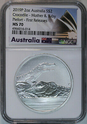 2019 P Australia Crocodile Mother and Baby $2 2 Oz Silver Piefort / NGC MS70 FR