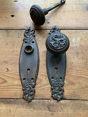 "Pr Ornate Cast Iron Antique Door Knobs & Backplates ""Harrington"" Russell & Erwin"