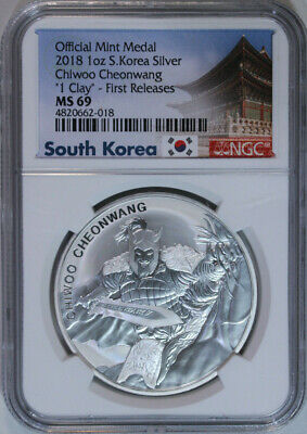2018 S. Korea Chiwoo Cheonwang 1 Clay NGC Mint State 69 / First Releases