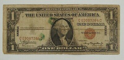 1935 A Hawaii $1 Silver Certificate WWII Emergency Issue Note -Heavy Circultated