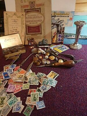 Vintage job lot collectables Curios coins, badges and buttons