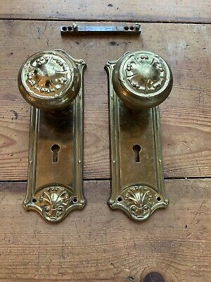 Pr Antique Solid Brass Door Knobs With Matching Plates