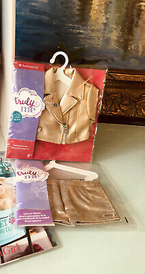 American Girl Doll Truly Me Mix & Match Gold Moto Jacket & Golden Foil Shorts