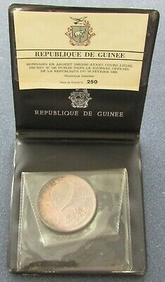 Guinea 250 Francs Guinean 1970 Silver Proof in Presentation Case * APOLLO XIII