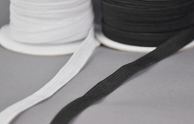 "10 Yards 1/4"" Elastic - Black or White - DIY Face Mask - In Stock Ships From USA"