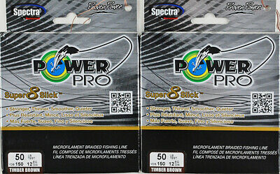 (Lot Of 2) Power Pro Super8Slick 150Yds Braided 50Lb Line Timber Brown L3301