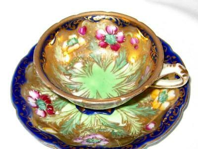 Pre Nippon Cobalt Gold Gilt Etched Demitasse Cup and Saucer HP Floral