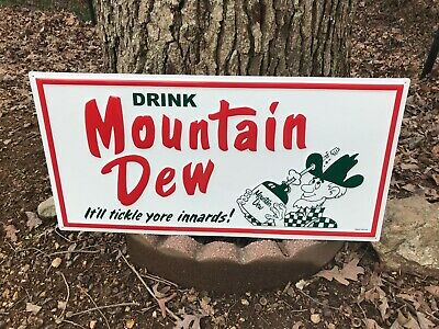 "LARGE 'MOUNTAIN DEW"" EMBOSSED METAL ADVERTISING SIGN, (32""x 16""), NEAR MINT"
