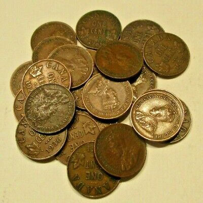 Lot of 23 George V Canada Small Cents- 9 Different Dates-1920-1936-Circulated