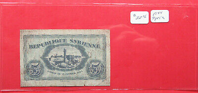 1944 5 Piastres Syria Note. Circulated. Tougher date issue. (520117)