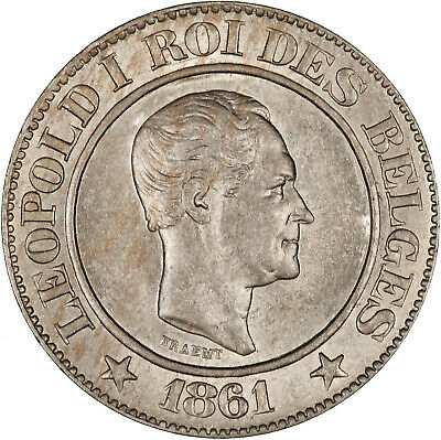 Belgium 1861 20 Centimes LUSTROUS UNC, TWO YEAR TYPE