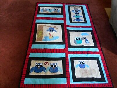 Handmade Quilt - Pretty Owls - Applique & Patchwork - 124 Cm X  187 Cm - New -