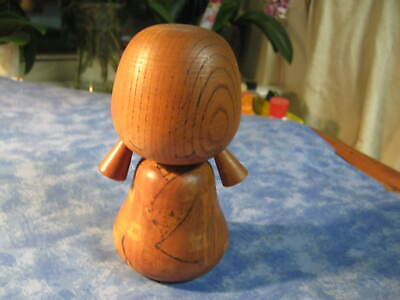 "VINTAGE JAPANESE WOOD GRAIN KOKESHI DOLL Signed by Artist 6"" tall XLNT"