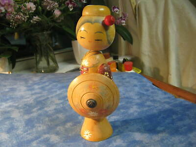 "VINTAGE JAPANESE KOKESHI GEISHA DOLL WITH UMBRELLA Signed by Artist 8.5"" tall"