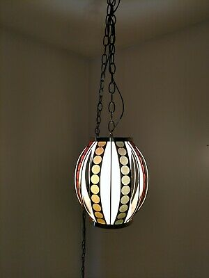 Vintage mid century 1960's Mod multi-colored chained ceiling light
