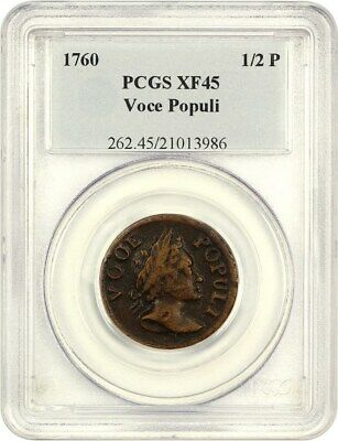 1760 Voce Populi Halfpenny PCGS XF45 - Nice Detail - Colonial Coinage