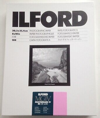 ILFORD MGIV RC DELUXE 8x10 Inch GLOSSY 100 DARKROOM PAPER
