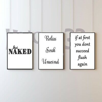 SET OF 3 Wall Art Picture Prints. Home Bedroom Bathroom Hall Quote A4