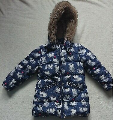Girls NEXT Winter hooded coat 3-4yrs 104cm blue with cats used