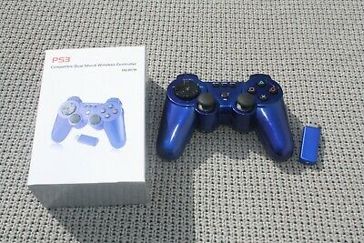 PS3 Compatible Dual Shock Wireless Controller DG-8178 Blue Unused USB Dongle NEW