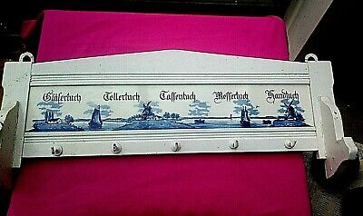 Delft Tile Wall Hanging Towel Key Rack German Dutch Wooden Antique / Vintage