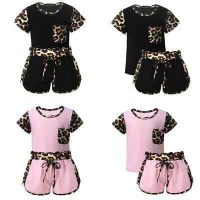 Kids Girls Leopard Printed T-shirt+Shorts Outfits Toddlers Sports Tracksuits Set