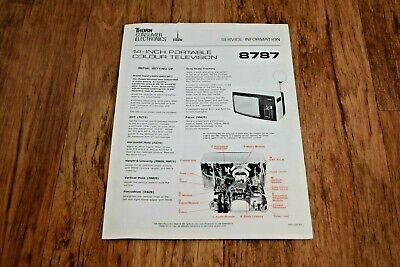 Thorn Model 8787 vintage colour tv television Service Information Data
