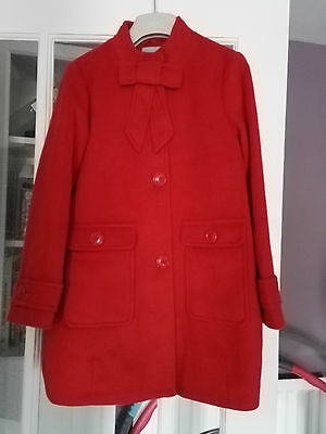 NEXT Girl's Red Bow Detail Coat - 11 Years - NEW