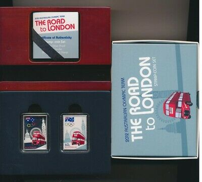 """Australia: 2012 60c Legal tender Silver """"stamp"""" coin, Road to London Set Rare"""