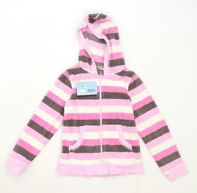Cherokee Girls Striped Pink Zip Up Fleece Age 8-9