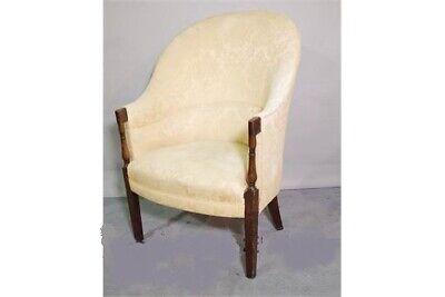 Pretty Antique Victorian high back tub shape armchair with turned oak arms