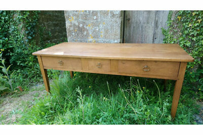 French antique golden oak kitchen serving table console work table with drawers