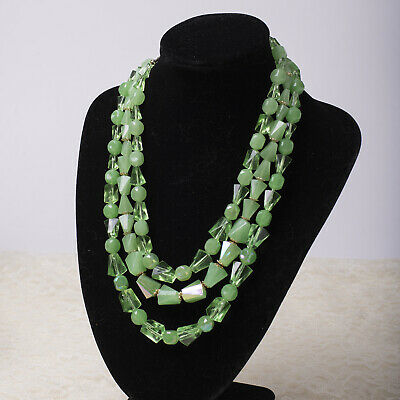 "VTG 3 Strand Tiered Green Resin Early Plastic Gold Tone Hong Kong 18"" Necklace"