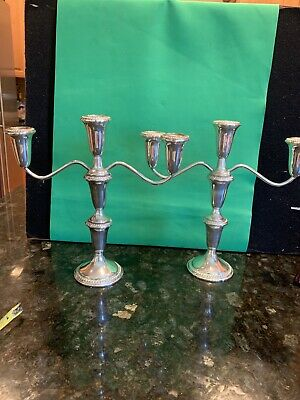 VINTAGE Pair WEIGHTED EMPIRE STERLING SILVER CANDELABRA 375
