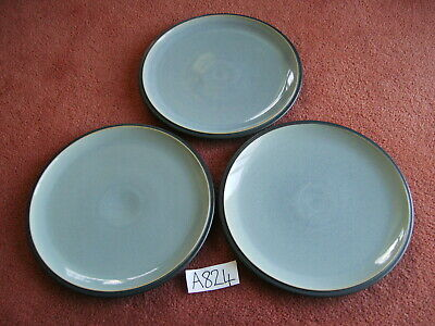 DENBY BLUE JETTY  DINNER PLATES X 3 - Cool blue faces