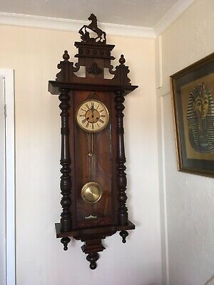 Large Elegant Vienna Wall Clock With Horse Figure and Original Dial