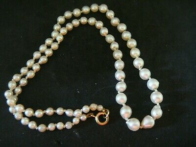 Antique / Vintage Baroque Real Cultured Salt Water Oyster Pearl Necklace 18.5 In