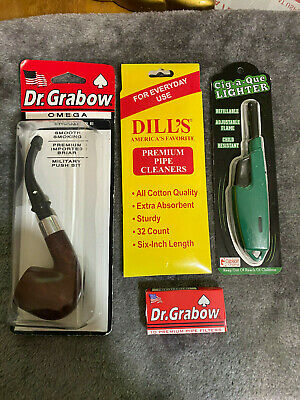 NEW DR.GRABOW BRIAR PIPE  OMEGA w/curved Military stem-Smooth Bowl