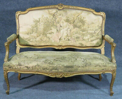 Great French Gilded Louis XV Settee Canape Sofa w Vernis Martin Tapestry Fabric