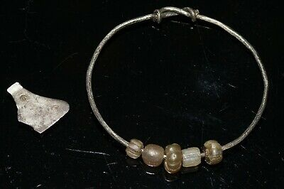 Stunning Viking or Anglo-Saxon Peroid Silver Bracelet and Axe Pendant..