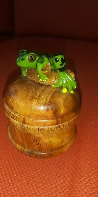 small carved wooden lidded box painted frog Thailand