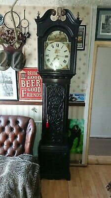 longcase grandfather clock working order note bell don't strikes on the hour